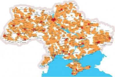 Карта покрытия Utel (красным)