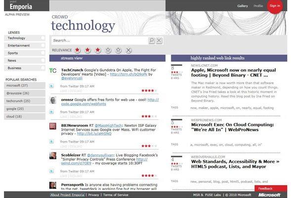 Microsoft Project Emporia - приложение для работы с Twitter