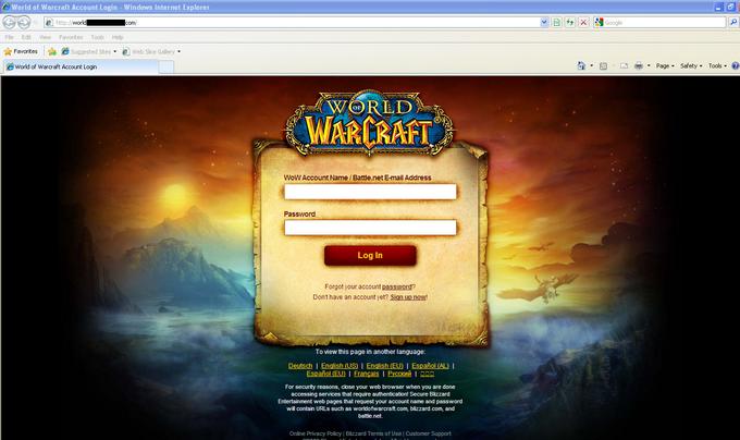 Поддельная страница входа в игру World of Warcraft, служившая для похищения учетных данных