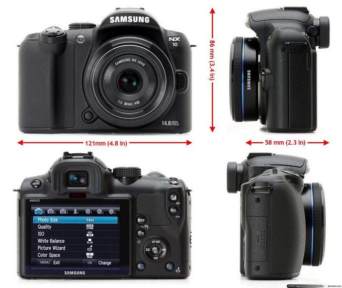Samsung NX10 - размеры