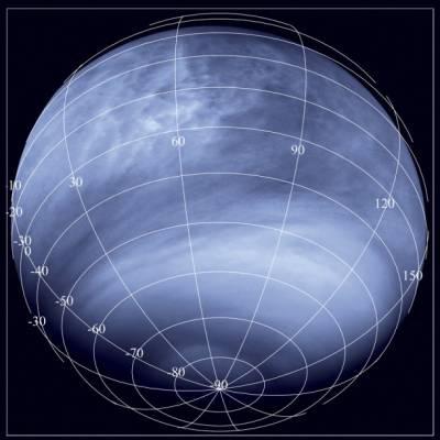 Снимок поверхности Венеры, сделанный камерой Venus Monitoring Camera в ультрафиолетовом диапазоне с расстояния около 30 000 км. Фото ESA/MPS/DLR/IDA
