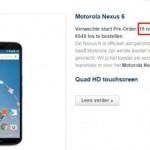 Приём предзаказов на европейский Nexus 6 начнётся 18 ноября