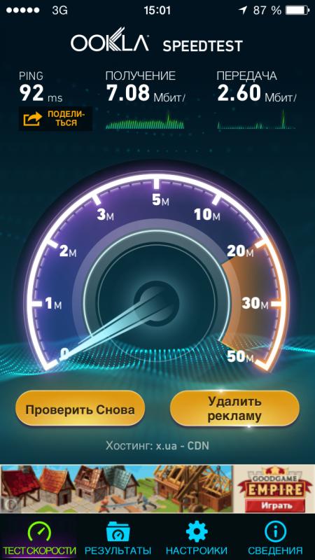 тест скорости в сети Интертелеком
