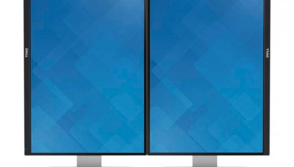 Two Dell UltraSharp 25 (Model U2515H) flat panel monitors side by side in a vertical position.