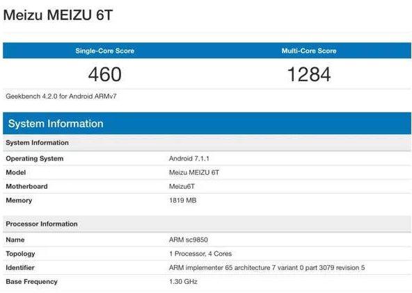 Meizu M6T Geekbench